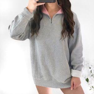 Light gray with pink collar quarter zip sweater